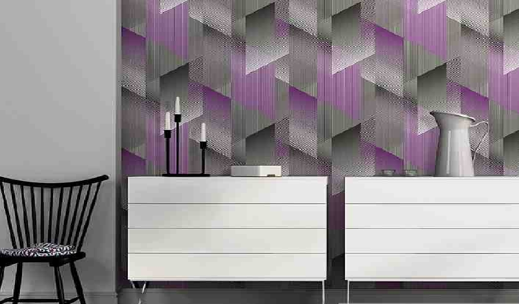 Stylish violet gray colored waterproof wallpaper