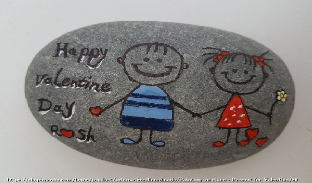Painting on stone - Present for Valentine