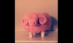 Pink handmade ceramic sheep cup
